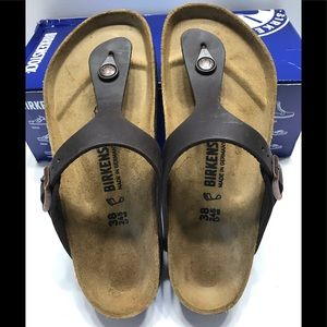 NEW Birkenstock Gizeh BS Habana Leather Sandals 7